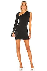 Susana Monaco One Sleeve Wrap Neck Mini Dress in Black