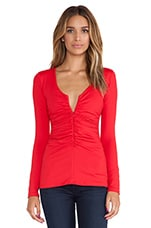 Zip Gather Top en Rouge Parfait