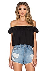 Off the Shoulder Crop Top en Noir