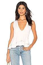 Susana Monaco Sleeveless V Neck Ruffle Top in Creme