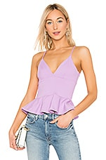 Susana Monaco V Neck Ruffle Hem Top in Violet