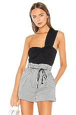 Susana Monaco Cinched Front Ruched Top in Black