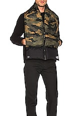The North Face Nuptse Scarf in Burnt Olive Green Waxed Camo Print