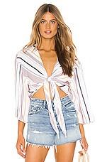 TAVIK Swimwear Weller Top in White & Berry Stripe