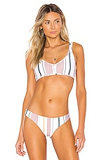 TAVIK Swimwear Marlowe Bikini Top in White & Berry Stripe