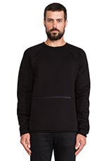 T by Alexander Wang Scuba Double Knit Crewneck Sweatshirt in Black