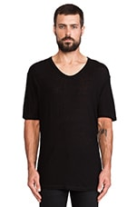Pilly Low Neck Tee in Black