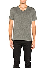 Classic Low Neck Tee in Heather Grey