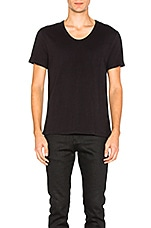 Pima Cotton Low Neck Tee in Black