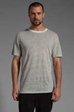 Linen Stripe Tee in Chalk and Ink