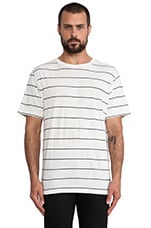 Linen Stripe Short Sleeve Tee in Ivory & Onyx