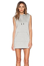 Scuba Hooded Dress with Reflective Stripes in Light Heather Grey