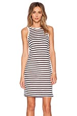 Stripe Rayon Linen Tank Dress in Off White & Navy