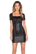 Square Neck Leather Dress in Black