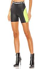 T by Alexander Wang Wash & Go Satin Jersey Biker Shorts in Zest & Black