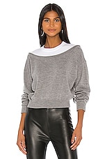 T by Alexander Wang Peelaway Bi Layer Cropped Pullover in Grey & White