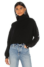 T by Alexander Wang Snap Hybrid Cropped Turtleneck in Black