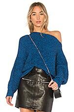 T by Alexander Wang Mohair Asymmetrical Sweater in Azure & Black