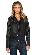 Pebbled Leather Moto Jacket in Black