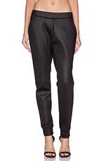 Shiny Bonded Fleece Sweatpants in Black