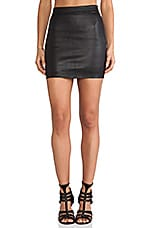 Stretch Leather High Waisted Skirt in Black