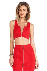 Rib Knit 2 Way Zip Cropped Tank in Cola
