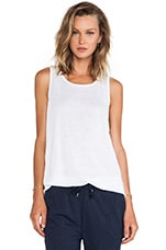 Linen Silk Jersey Oversized Tank in White