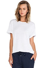 Linen Silk Jersey Oversized Tee in White