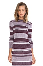 2 x 2 Rib Long Sleeve Mock Neck Top in Bordeaux