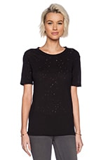T by Alexander Wang Distressed Holey Jacquard Jersey Short Sleeve Tee in Black