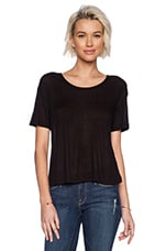 Soft Melange Rib Oversize Tee in Black