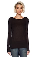 Soft Melange Rib Long Sleeve Tee in Black