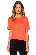 Linen Silk Jersey Oversized Tee in Coral
