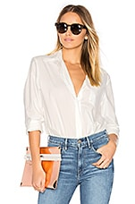 Long Sleeve Shirt Bodysuit in Ivory