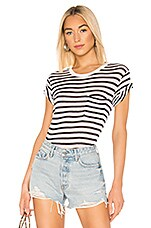 T by Alexander Wang Classic Striped Slub Jersey Short Sleeve With Pocket Tee in Ink & Ivory