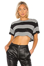 T by Alexander Wang Wash & Go Wide Stripe Twist Cropped Top in Charcoal & Black