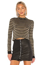 T by Alexander Wang New Striped Slub Crop Top in Cargo & Black