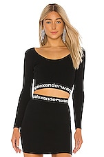 T by Alexander Wang Bodycon Bi Layer Cropped Top in Black & White