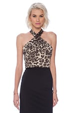 Ava Cropped Halter in Leopard