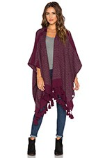 Diamond Poncho in Wine & Grey