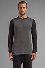 Treck Waffle Cut n Sew Pullover in Slate Grey/ Black