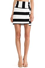 Staggered Stripe Skirt in Black Multi