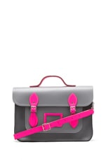The Cambridge Satchel Company Designer 14'' Satchel in Grey/Fluoro Pink