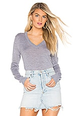 Theory Foundation V Neck Sweater in Cool Heather Grey