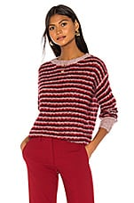 Theory Alpaca Stripe Pullover in Crimson Multi