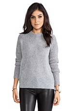 Delanna Sweater with Boucle Sleeves in Frost Grey