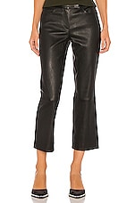 Theory Leather Bristol Crop Pant in Black