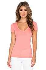 Short Sleeve V Neck Tee in Capri Coral