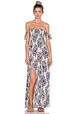 Tiare Hawaii Hollie Off Shoulder Dress in River Cream & Blue