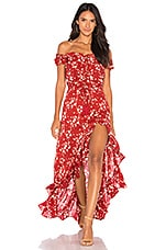 Tiare Hawaii Riviera Long Dress in Maroon Abstract